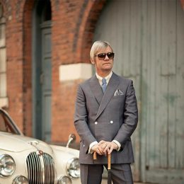 A customer enjoying his Silk & Mohair suit along with his classic Jaguar in the beautiful surrounds of Birmingham's Jewellery Quarter. pic RobTromans.co.uk