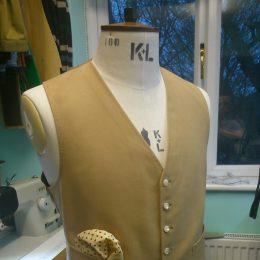 Mustard cotton moleskin waistcoat.